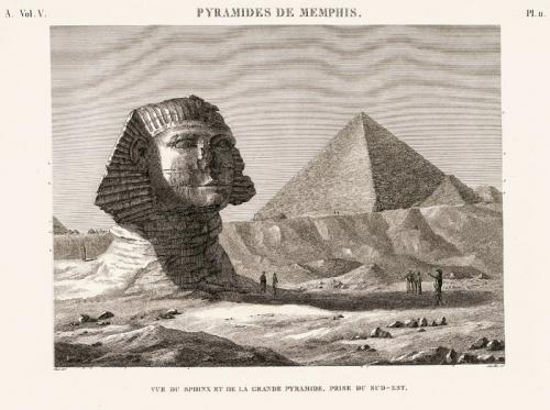 >Le grand Sphinx de Gizeh dans la Description de l'Egypte