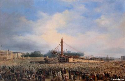 Erection de l'obélisque place de la Concorde à Paris